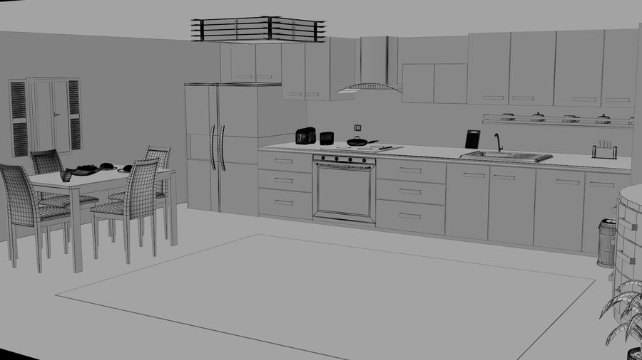 Cocina moderna royalty-free modelo 3d - Preview no. 9