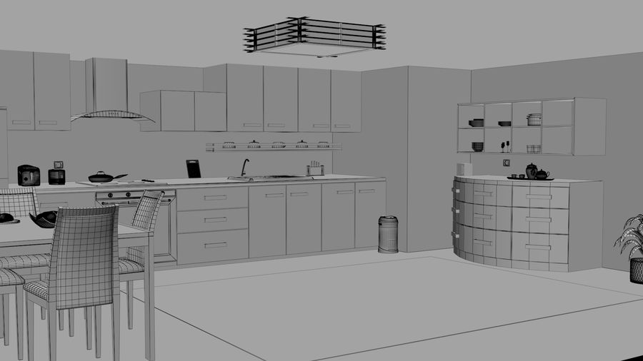 Cocina moderna royalty-free modelo 3d - Preview no. 8