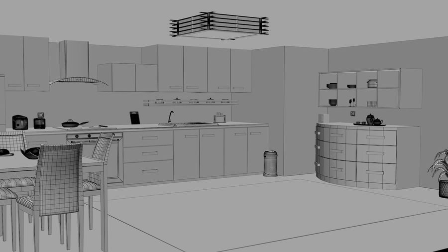 Modern Kitchen royalty-free 3d model - Preview no. 8