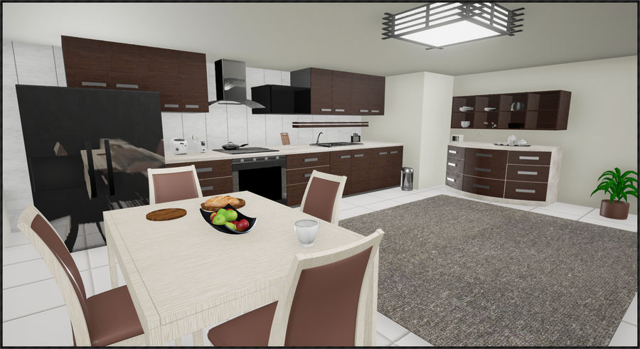 Cucina moderna royalty-free 3d model - Preview no. 1