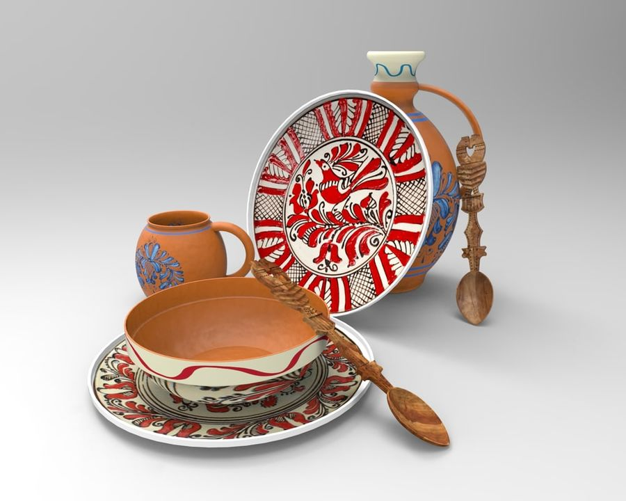 spoon & plate royalty-free 3d model - Preview no. 1