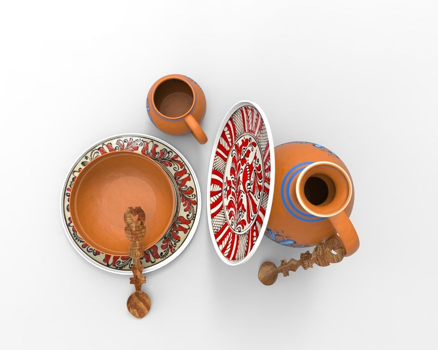 spoon & plate royalty-free 3d model - Preview no. 3