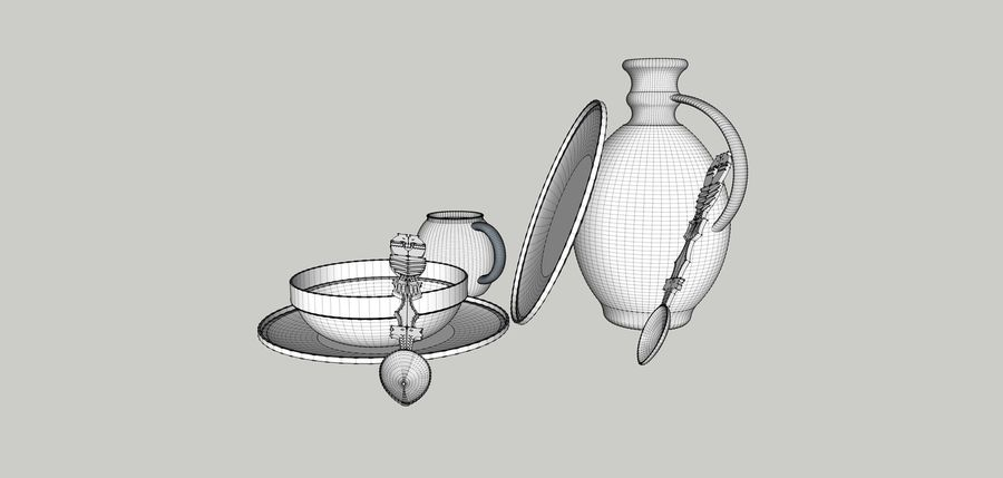 spoon & plate royalty-free 3d model - Preview no. 7