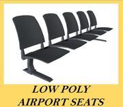 Posti a sedere all'aeroporto Low Poly 3d model