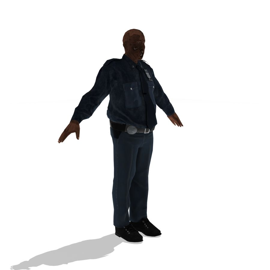 låg polis zombie royalty-free 3d model - Preview no. 5