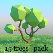 Trees pack in low poly style 3d model