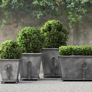 Estate Zinc Ring Square Planters 3d model