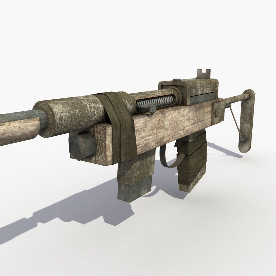 Post Apocalyptic Rifle royalty-free 3d model - Preview no. 7