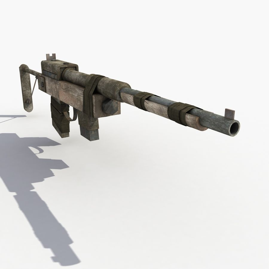 Post Apocalyptic Rifle royalty-free 3d model - Preview no. 5