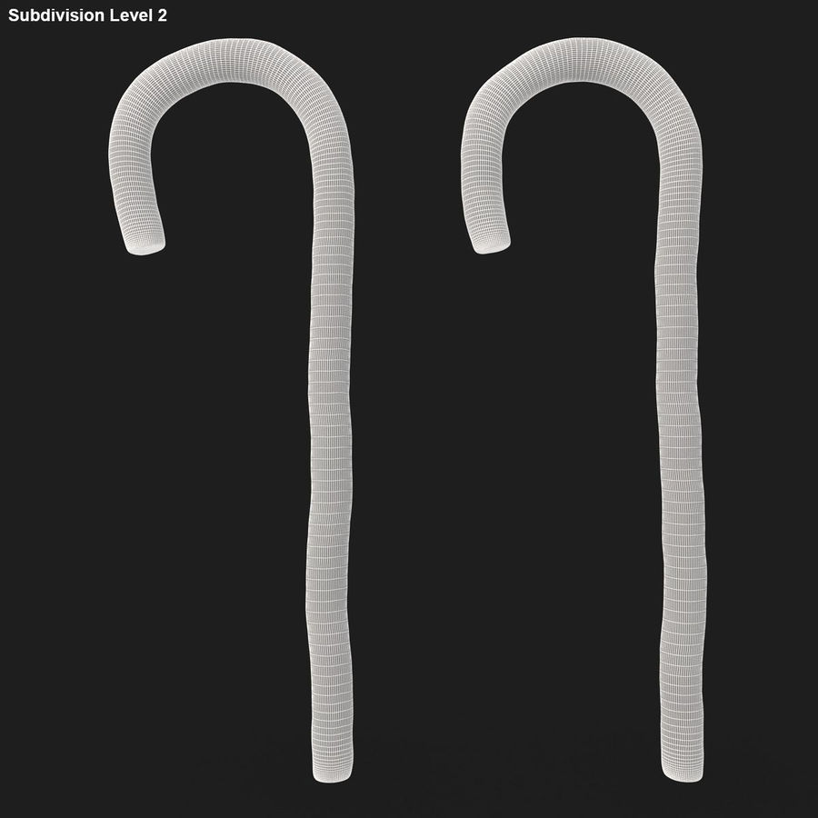 Candy Cane 03 (2 Colors) royalty-free 3d model - Preview no. 20
