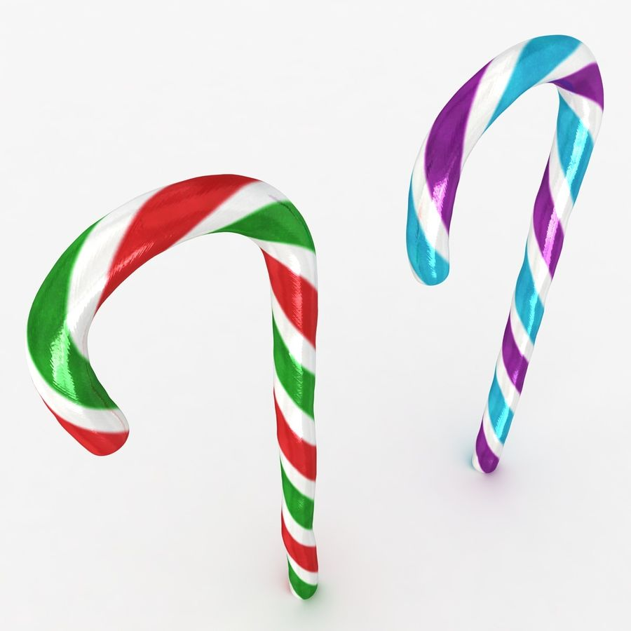 Candy Cane 03 (2 Colors) royalty-free 3d model - Preview no. 5
