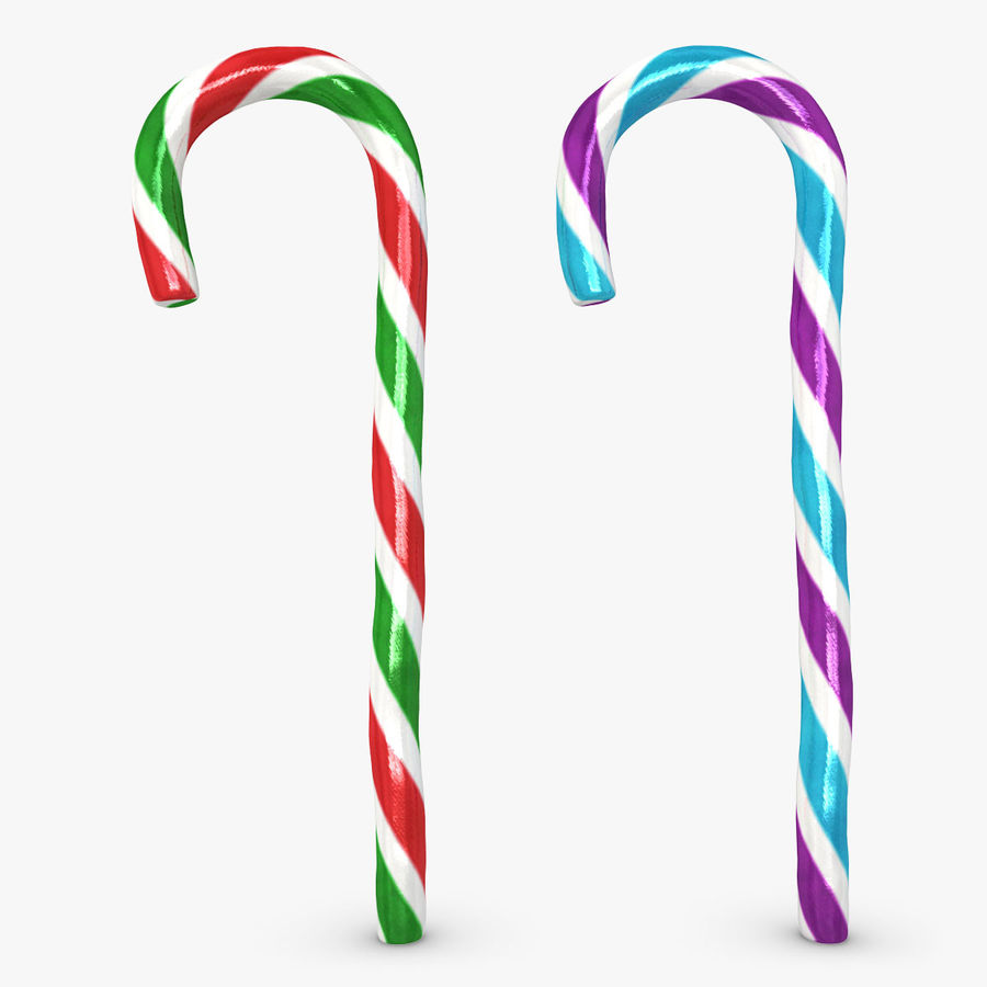 Candy Cane 03 (2 Colors) royalty-free 3d model - Preview no. 1