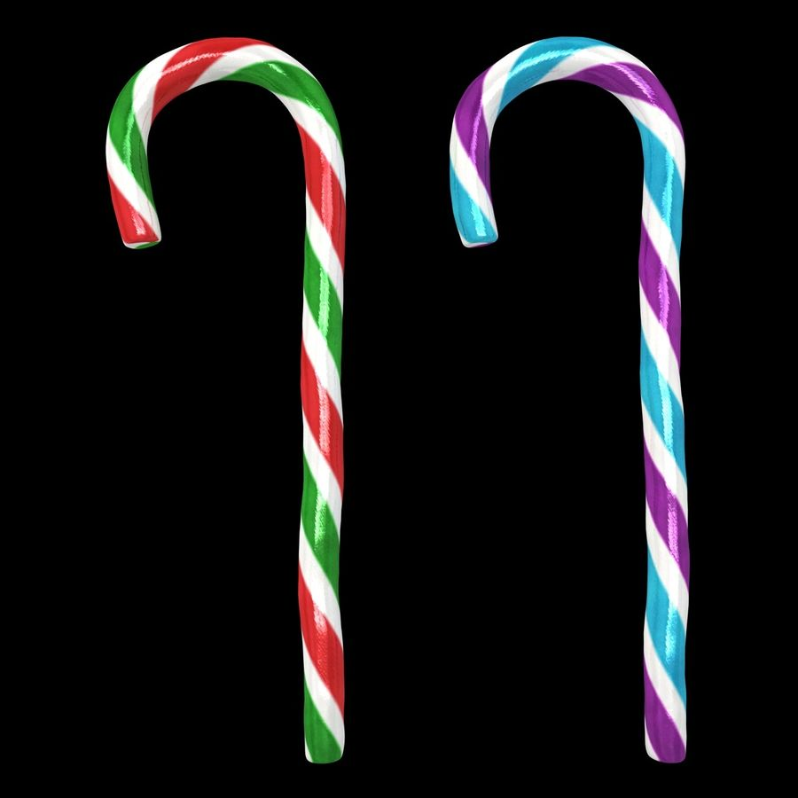 Candy Cane 03 (2 Colors) royalty-free 3d model - Preview no. 2