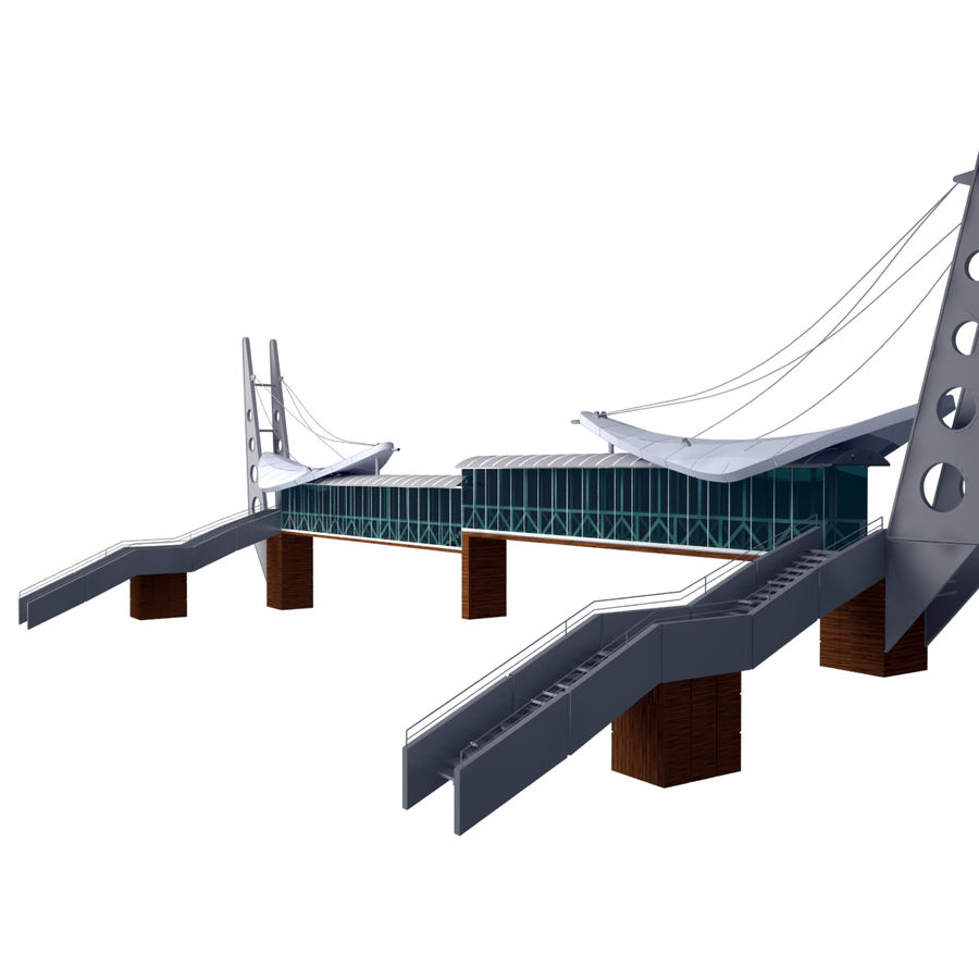 Footbridge royalty-free 3d model - Preview no. 2