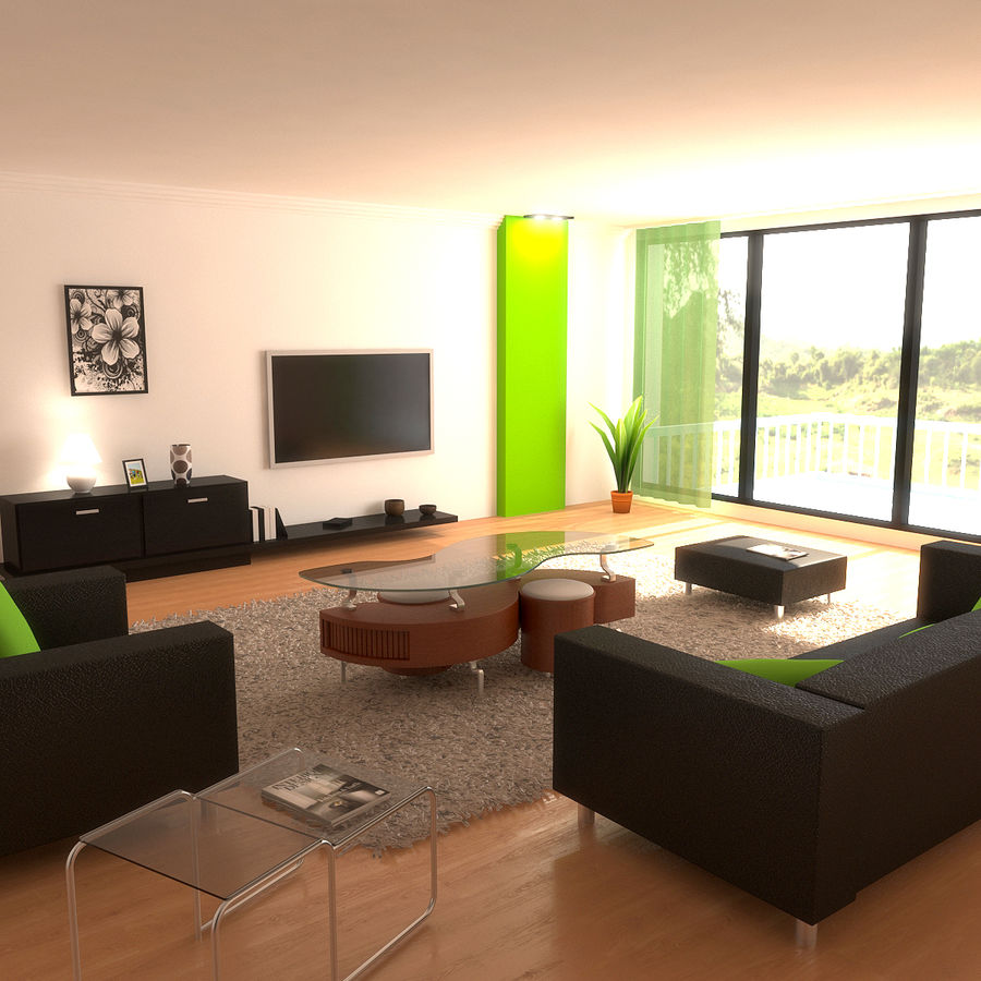 Modern Living Room royalty-free 3d model - Preview no. 1