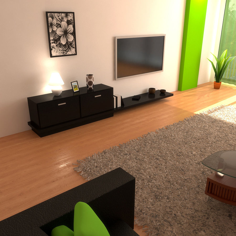 Modern Living Room royalty-free 3d model - Preview no. 4