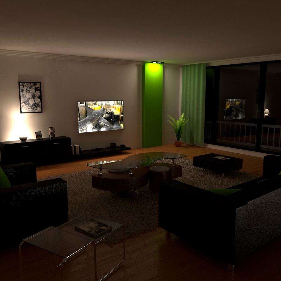 Modern Living Room royalty-free 3d model - Preview no. 2
