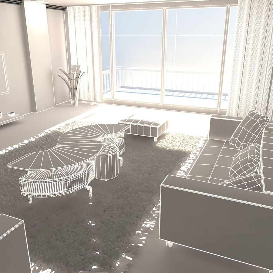 Modern Living Room royalty-free 3d model - Preview no. 6