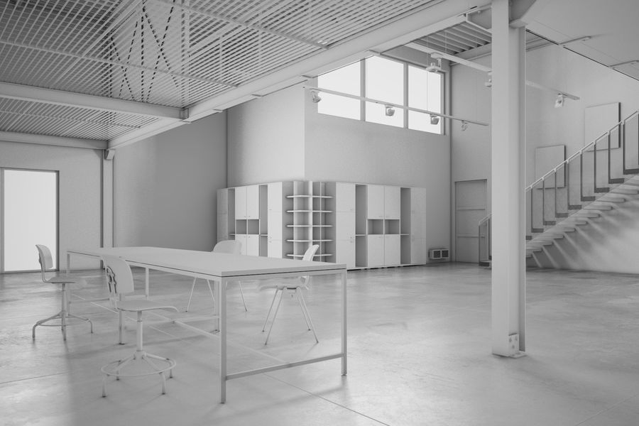 Industrial Loft royalty-free 3d model - Preview no. 3