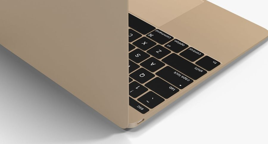 Apple MacBook Gold royalty-free 3d model - Preview no. 4