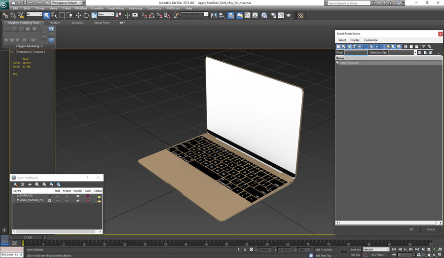 Apple MacBook Gold royalty-free 3d model - Preview no. 22