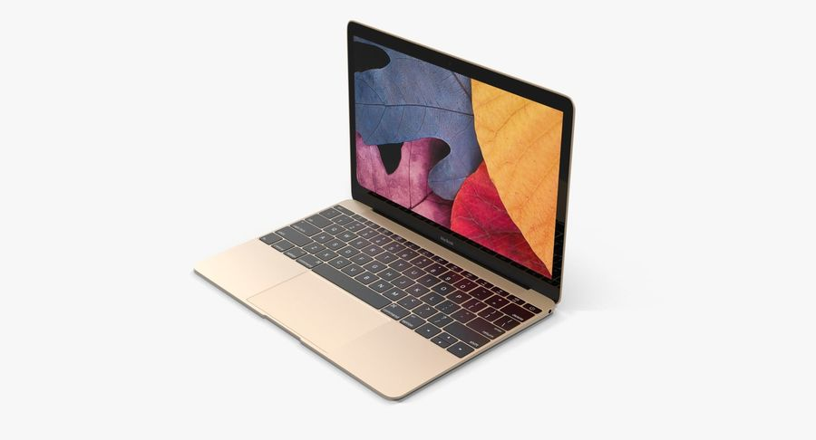Apple MacBook Gold royalty-free 3d model - Preview no. 2