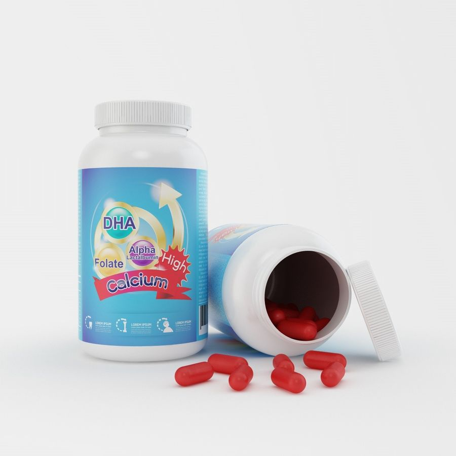 Bottle and pill (2) royalty-free 3d model - Preview no. 3