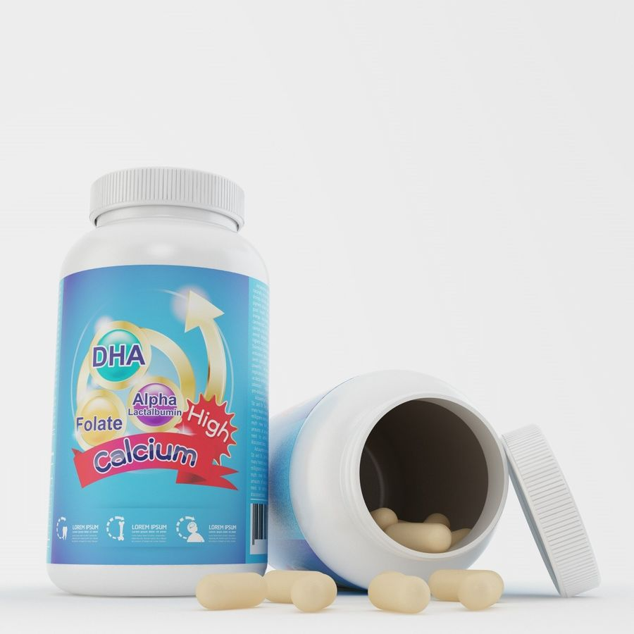Bottle and pill (2) royalty-free 3d model - Preview no. 6