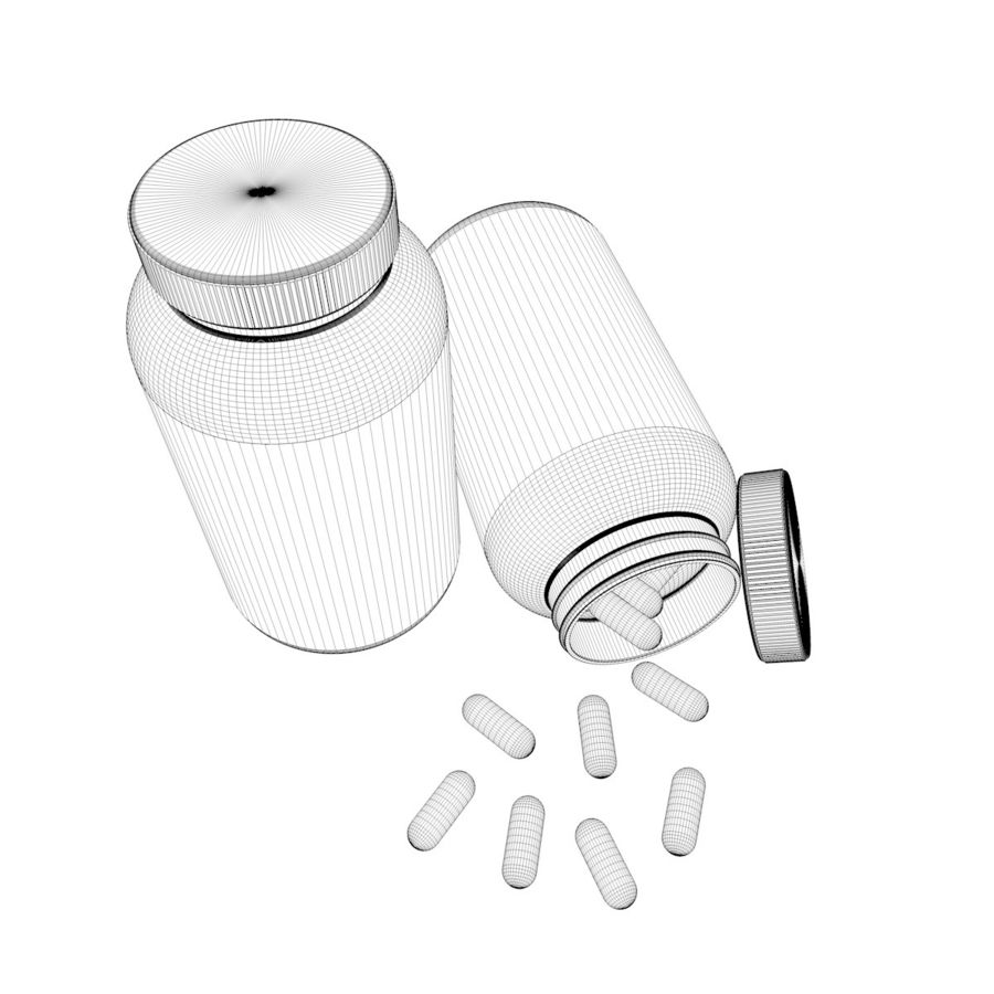 Bottle and pill (2) royalty-free 3d model - Preview no. 9