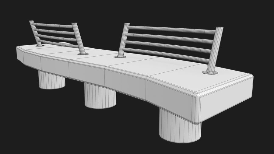 Marble Bench royalty-free 3d model - Preview no. 35