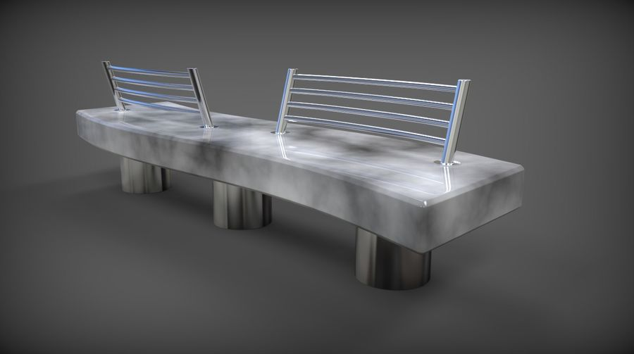 Marble Bench royalty-free 3d model - Preview no. 7