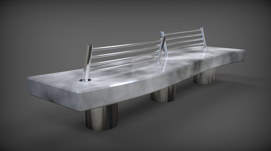 Marble Bench royalty-free 3d model - Preview no. 6
