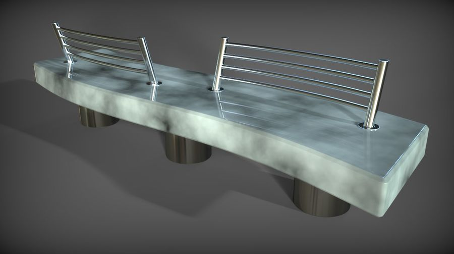 Marble Bench royalty-free 3d model - Preview no. 1
