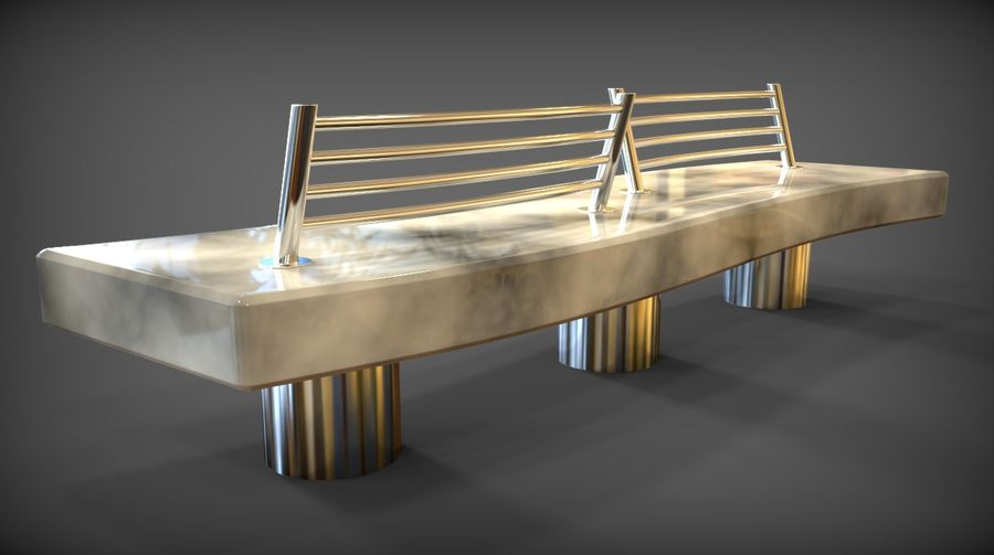 Marble Bench royalty-free 3d model - Preview no. 3