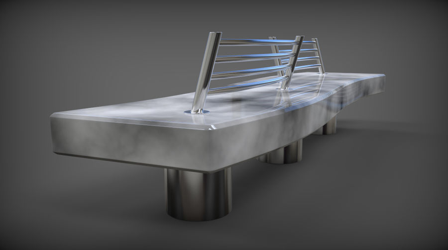 Marble Bench royalty-free 3d model - Preview no. 8