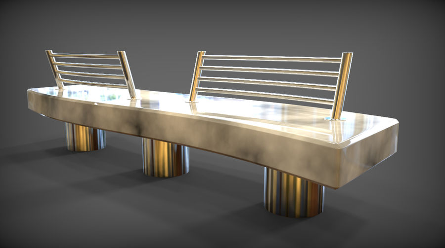 Marble Bench royalty-free 3d model - Preview no. 2