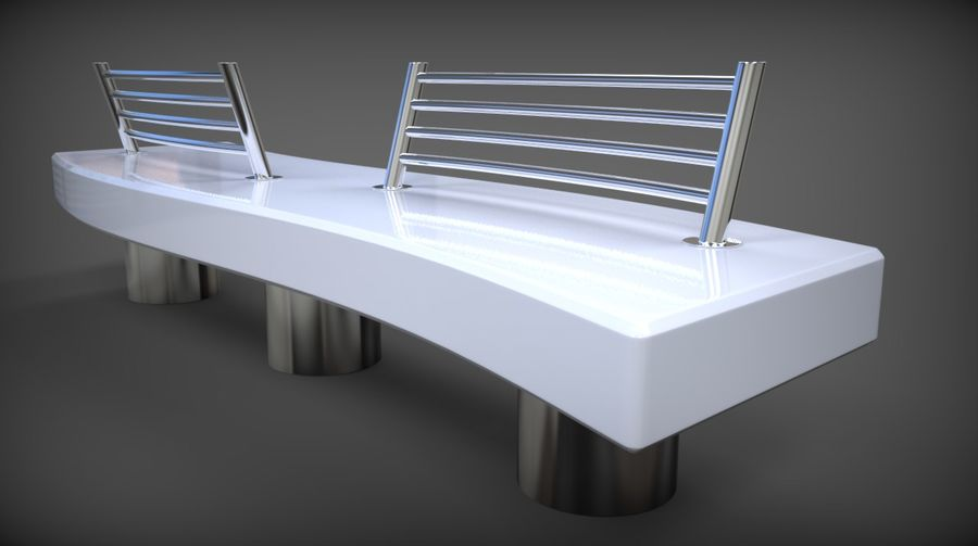 Marble Bench royalty-free 3d model - Preview no. 30