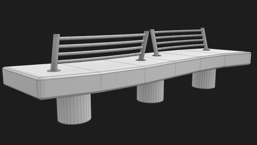 Marble Bench royalty-free 3d model - Preview no. 34