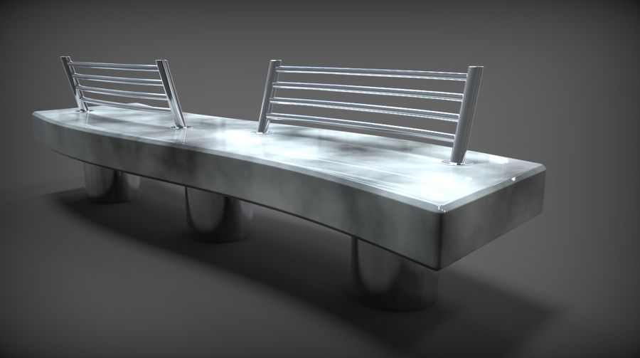 Marble Bench royalty-free 3d model - Preview no. 9