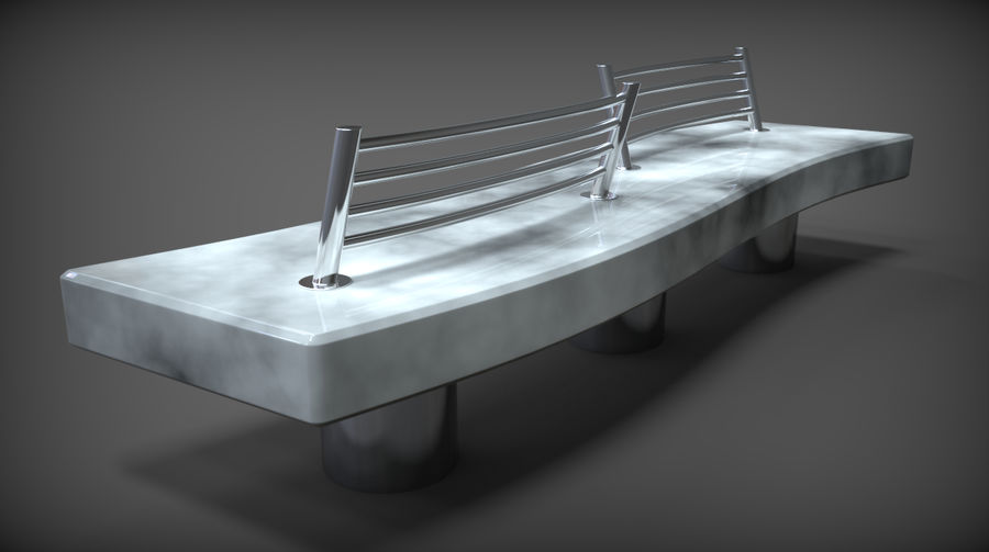 Marble Bench royalty-free 3d model - Preview no. 10