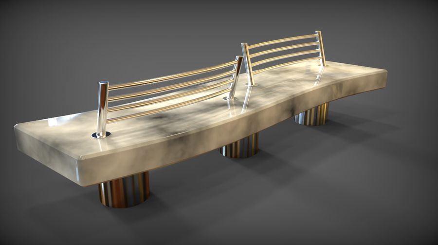Marble Bench royalty-free 3d model - Preview no. 5