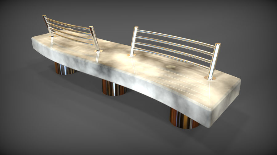 Marble Bench royalty-free 3d model - Preview no. 4
