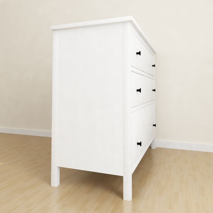Ikea Hemnes 3-drawer chest royalty-free 3d model - Preview no. 2