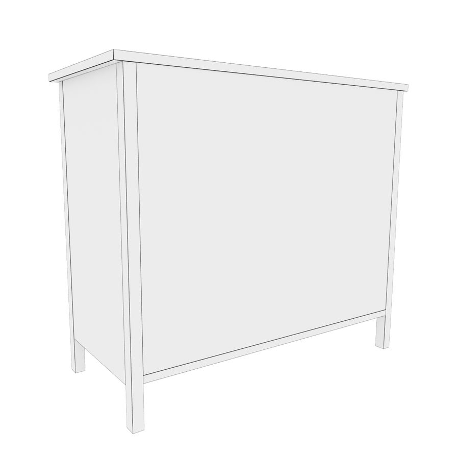 Ikea Hemnes 3-drawer chest royalty-free 3d model - Preview no. 5