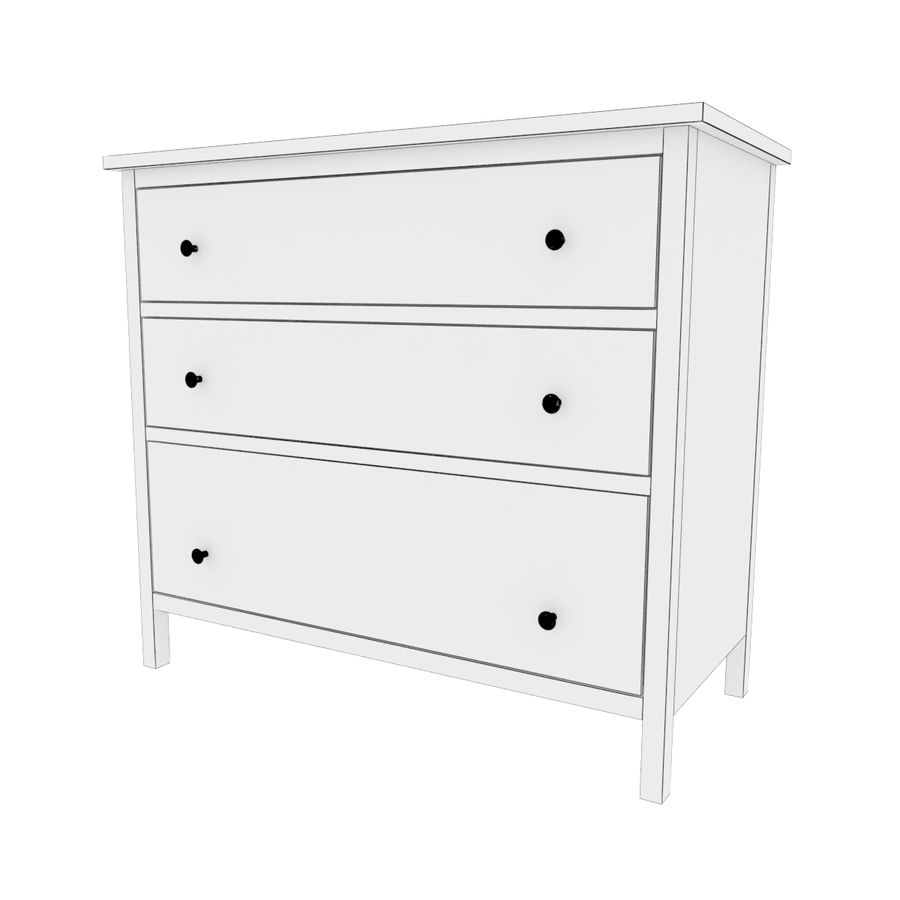 Ikea Hemnes 3-drawer chest royalty-free 3d model - Preview no. 4