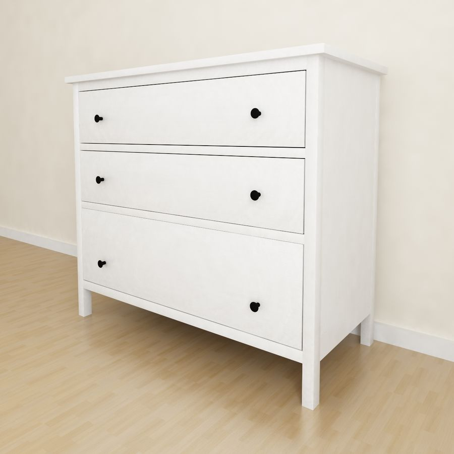 Ikea Hemnes 3-drawer chest royalty-free 3d model - Preview no. 1