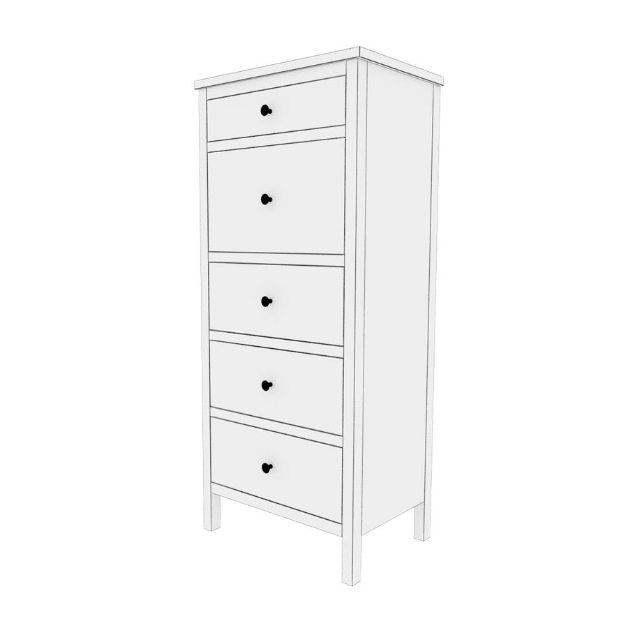 Ikea Hemnes 5-drawer chest royalty-free 3d model - Preview no. 4