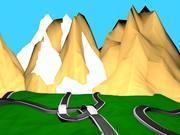 Miljö med låg poly-spel (vägkarta) 3d model