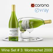 White wine set #3: Montrachet 2000 bottle, glass, tray, wine holder \ stand (high poly models) 3d model