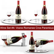 와인 세트 # 4 : Vosne Romanee Cros Parantoux bottle, 와인 글라스 2 종, 트레이, 와인 홀더 \ 스탠드 (고품질 모델) 3d model